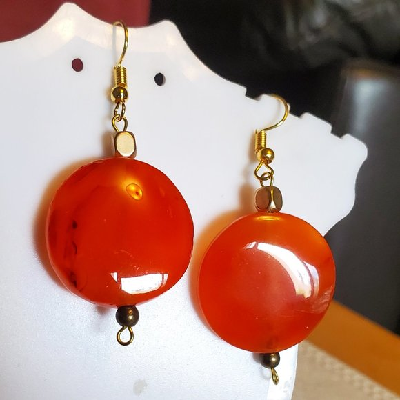 "2'"" Gold Tone Hook Orange Agate Dangle Earrings"